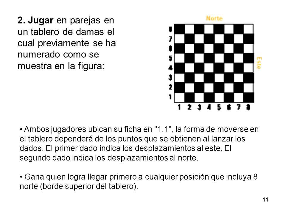 2. Jugar en parejas en un tablero de damas el cual previamente se ha numerado como se muestra en la figura: