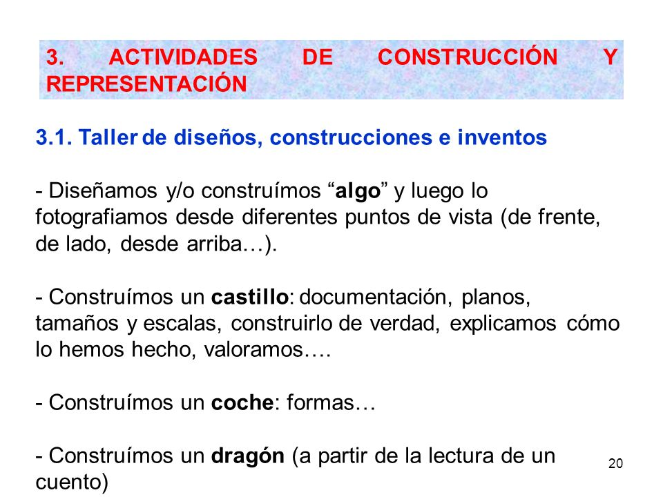 3. ACTIVIDADES DE CONSTRUCCIÓN Y REPRESENTACIÓN