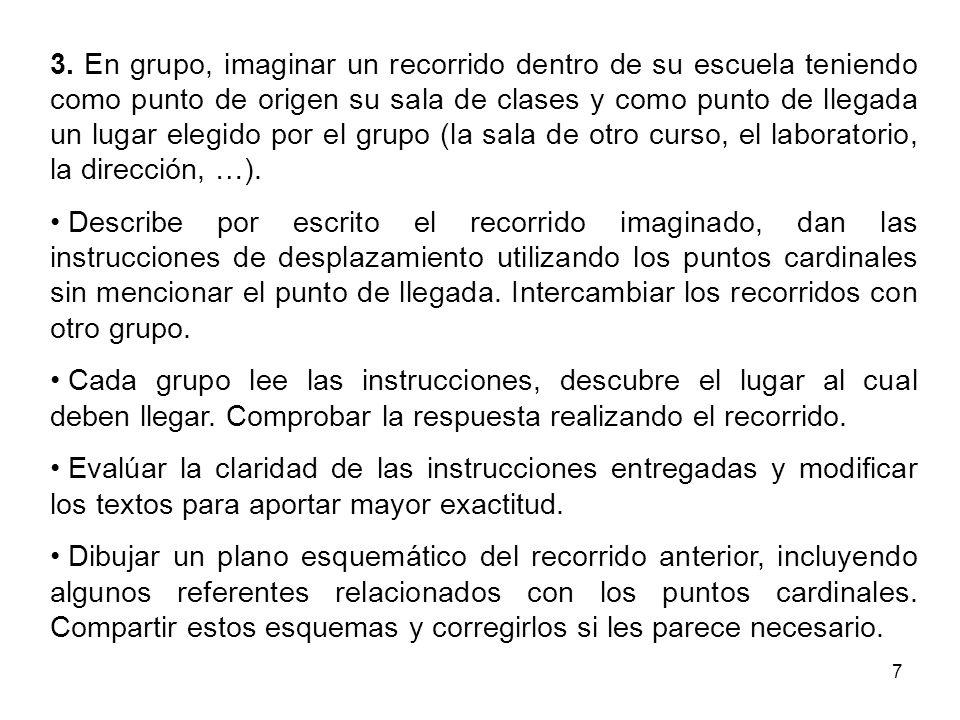 3. En grupo, imaginar un recorrido dentro de su escuela teniendo como punto de origen su sala de clases y como punto de llegada un lugar elegido por el grupo (la sala de otro curso, el laboratorio, la dirección, …).