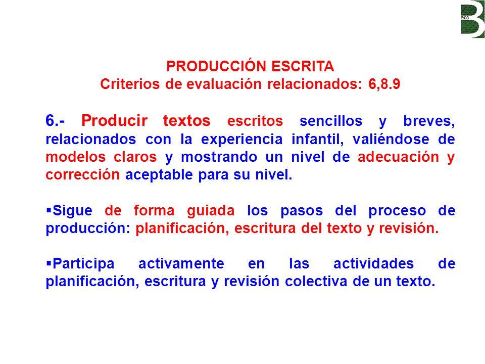 Criterios de evaluación relacionados: 6,8.9