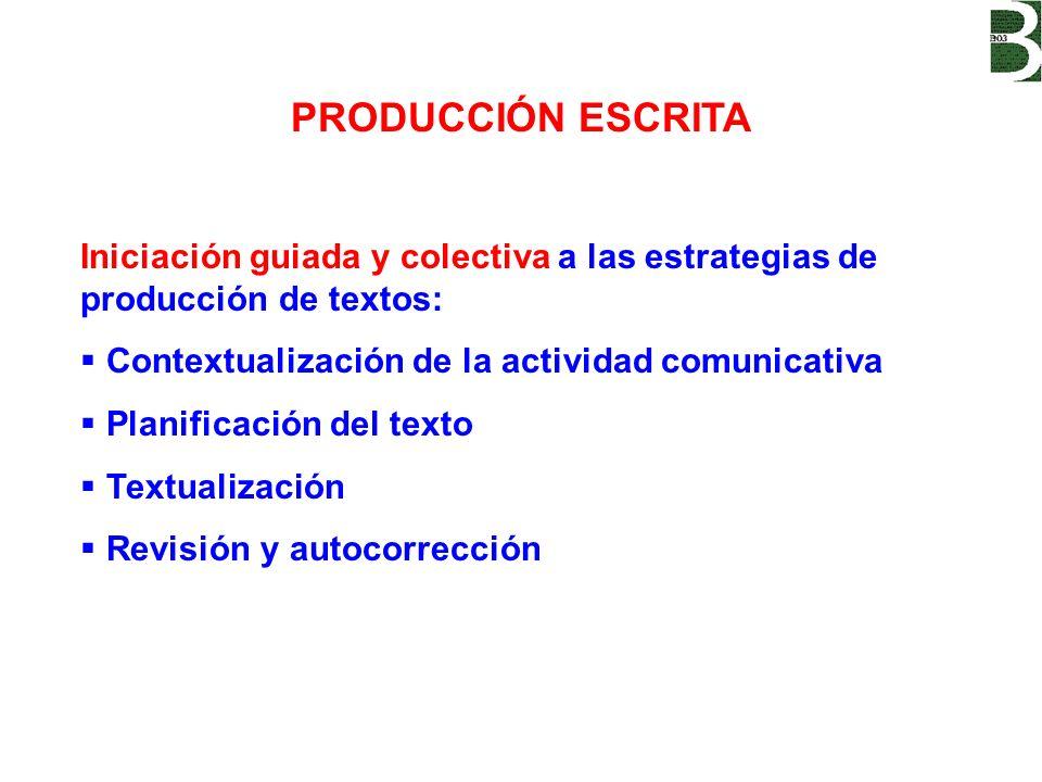 PRODUCCIÓN ESCRITA Iniciación guiada y colectiva a las estrategias de producción de textos: Contextualización de la actividad comunicativa.