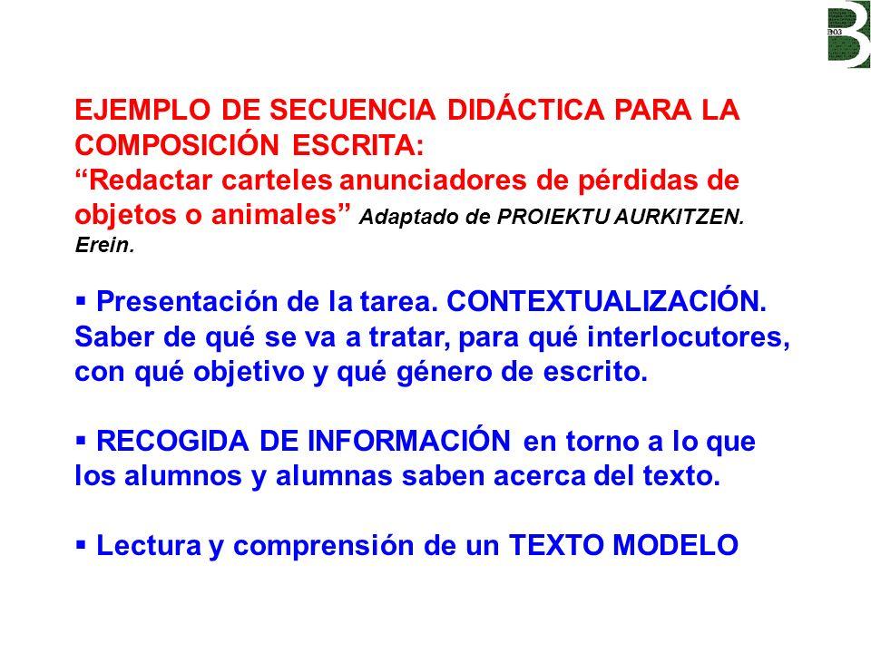 EJEMPLO DE SECUENCIA DIDÁCTICA PARA LA COMPOSICIÓN ESCRITA: