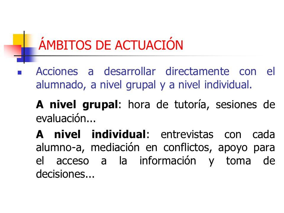 A nivel grupal: hora de tutoría, sesiones de evaluación...