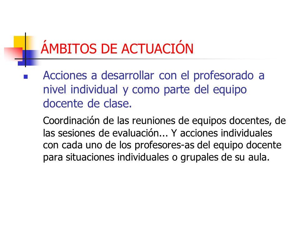 ÁMBITOS DE ACTUACIÓN Acciones a desarrollar con el profesorado a nivel individual y como parte del equipo docente de clase.