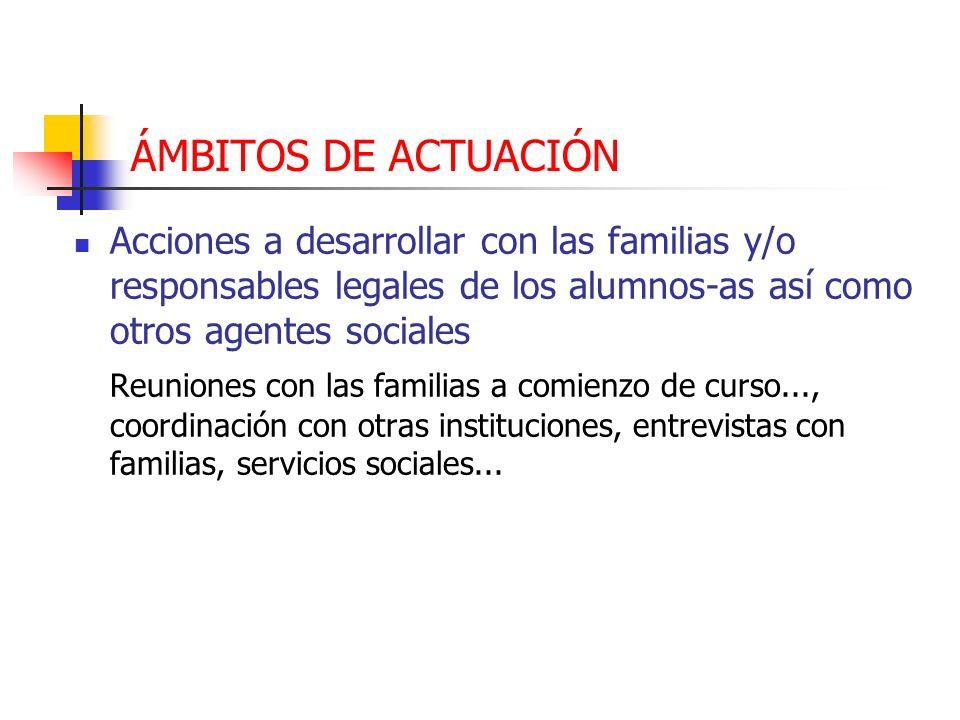 ÁMBITOS DE ACTUACIÓN Acciones a desarrollar con las familias y/o responsables legales de los alumnos-as así como otros agentes sociales.