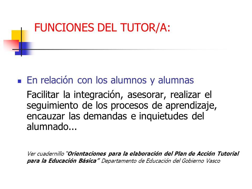 FUNCIONES DEL TUTOR/A:
