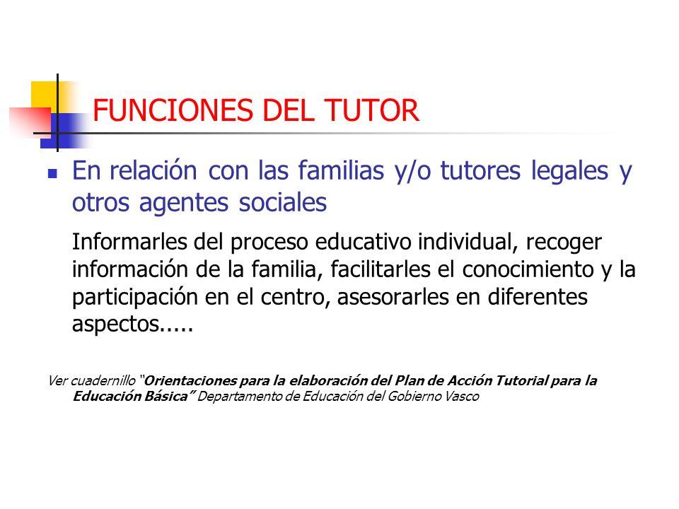 FUNCIONES DEL TUTOR En relación con las familias y/o tutores legales y otros agentes sociales.