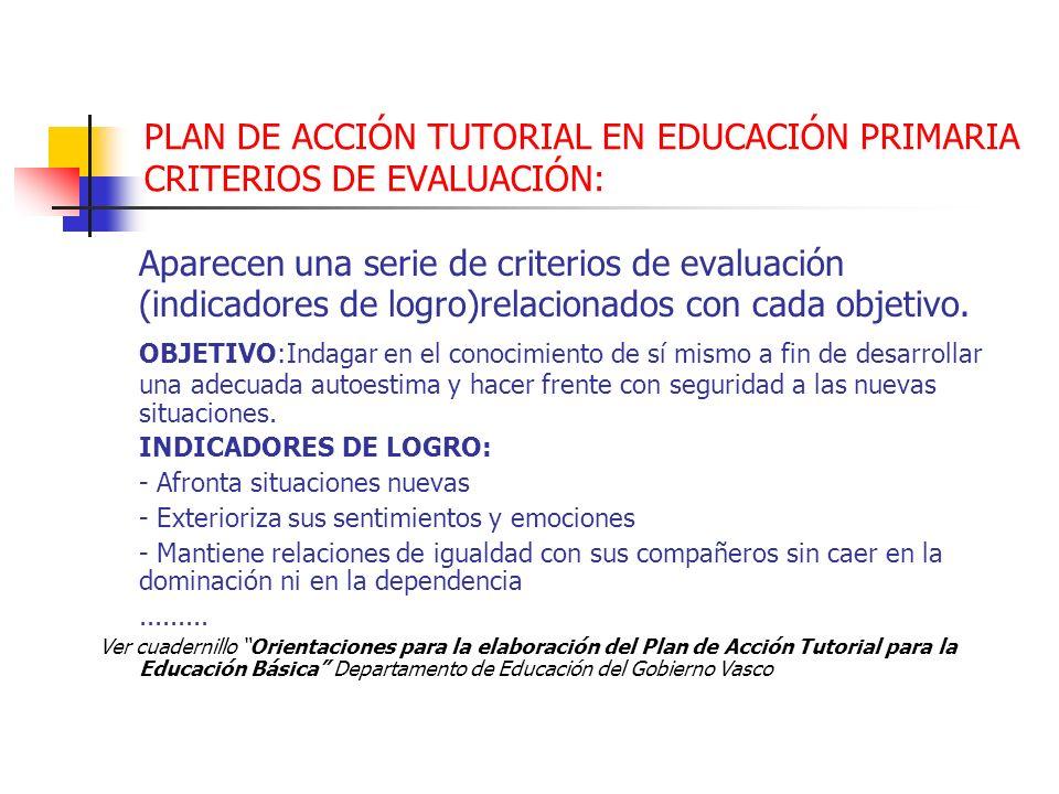 PLAN DE ACCIÓN TUTORIAL EN EDUCACIÓN PRIMARIA CRITERIOS DE EVALUACIÓN: