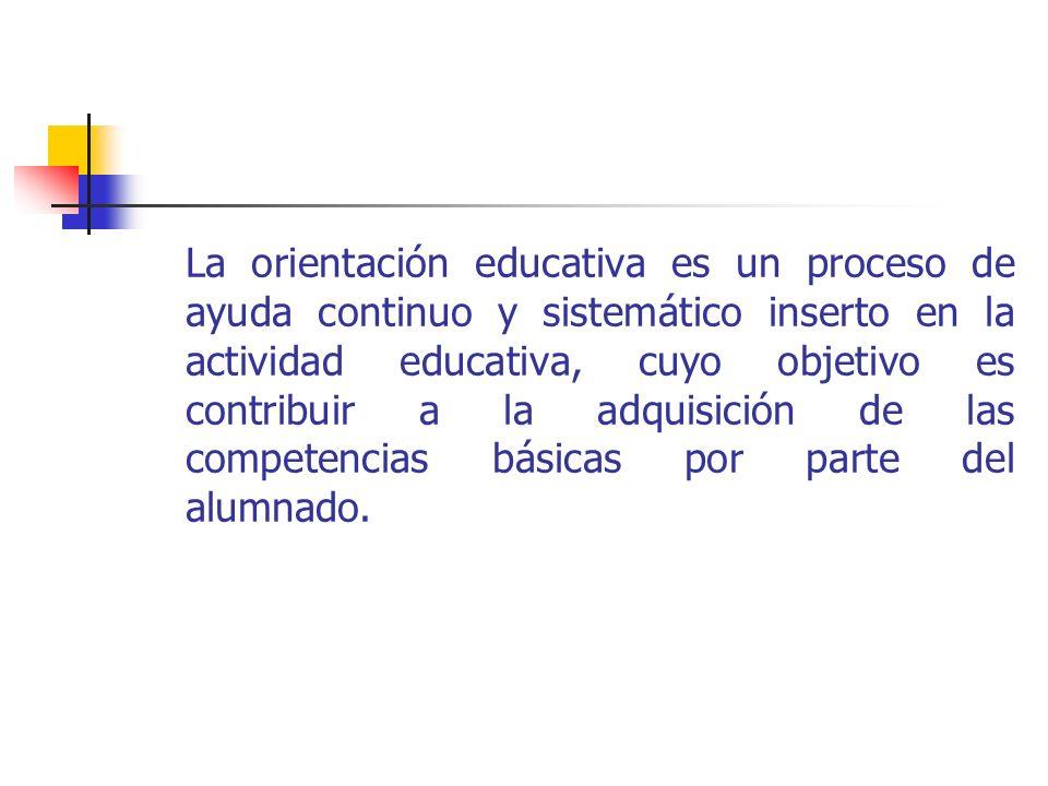 La orientación educativa es un proceso de ayuda continuo y sistemático inserto en la actividad educativa, cuyo objetivo es contribuir a la adquisición de las competencias básicas por parte del alumnado.
