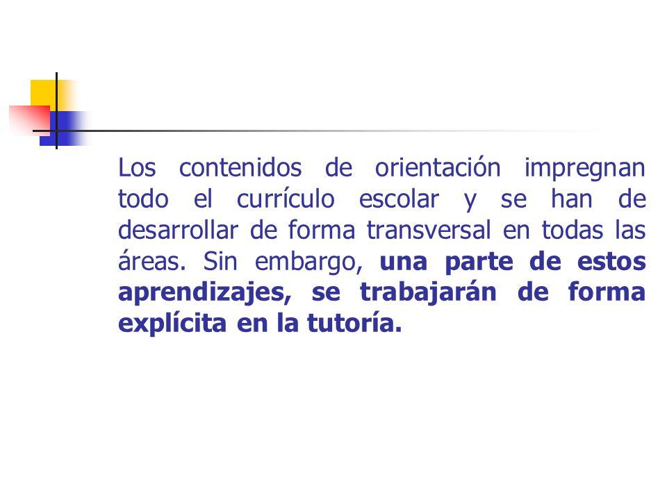 Los contenidos de orientación impregnan todo el currículo escolar y se han de desarrollar de forma transversal en todas las áreas.