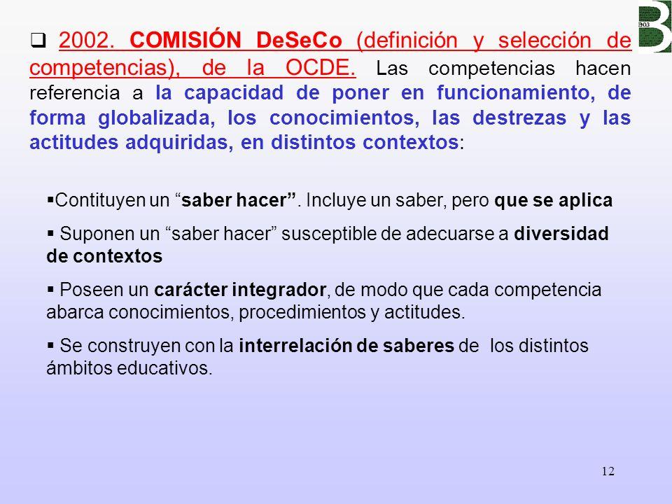 2002. COMISIÓN DeSeCo (definición y selección de competencias), de la OCDE. Las competencias hacen referencia a la capacidad de poner en funcionamiento, de forma globalizada, los conocimientos, las destrezas y las actitudes adquiridas, en distintos contextos: