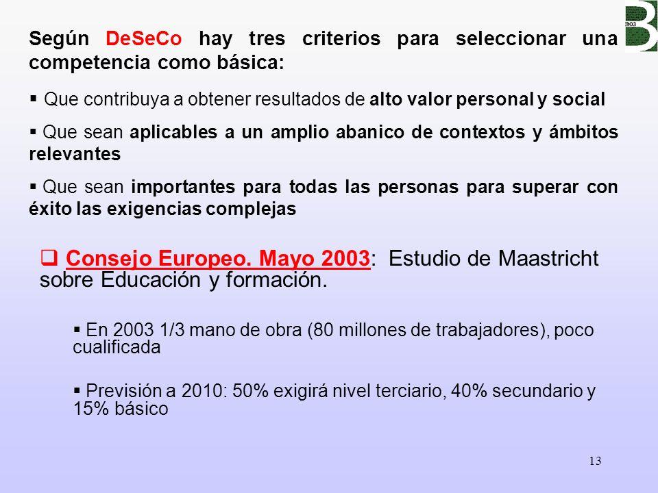 Según DeSeCo hay tres criterios para seleccionar una competencia como básica: