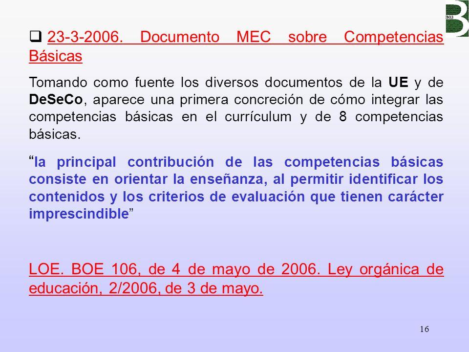 23-3-2006. Documento MEC sobre Competencias Básicas
