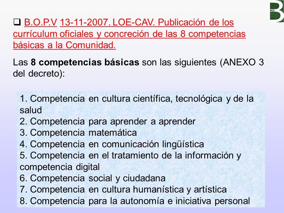 B.O.P.V 13-11-2007. LOE-CAV. Publicación de los currículum oficiales y concreción de las 8 competencias básicas a la Comunidad.