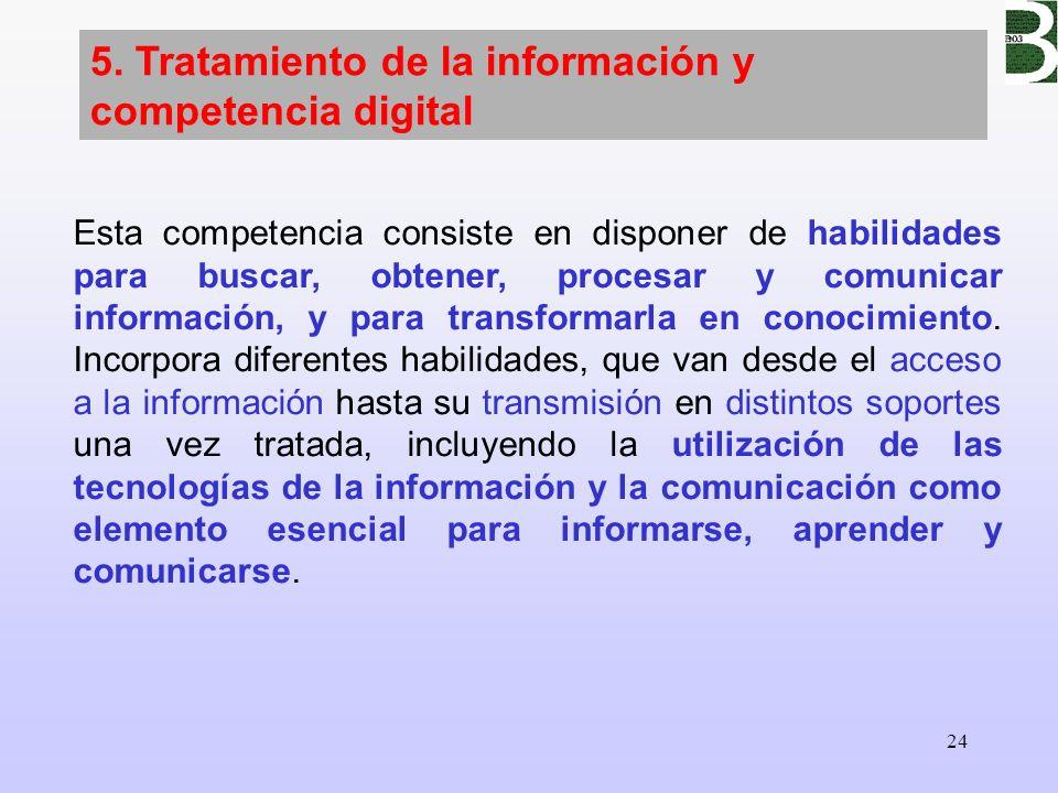 5. Tratamiento de la información y competencia digital