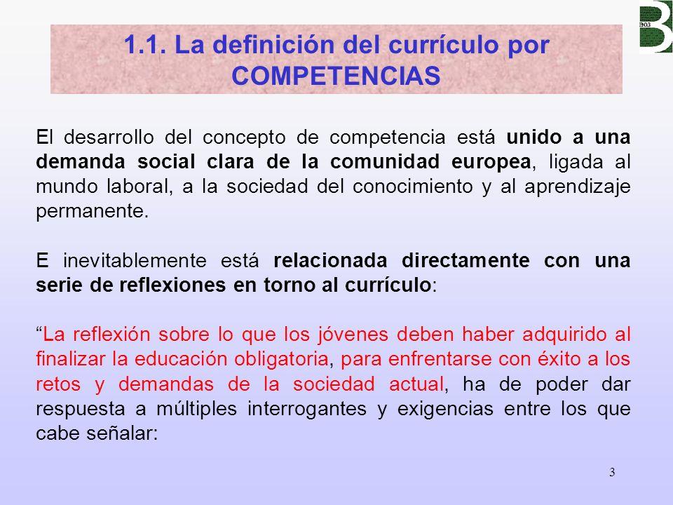 1.1. La definición del currículo por COMPETENCIAS