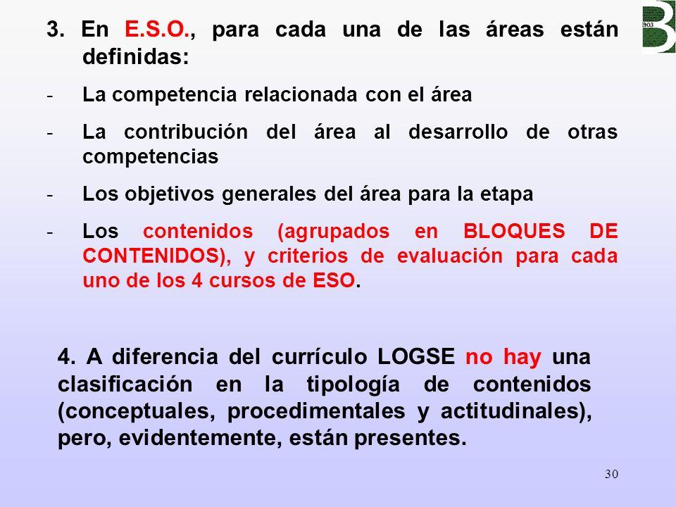 3. En E.S.O., para cada una de las áreas están definidas: