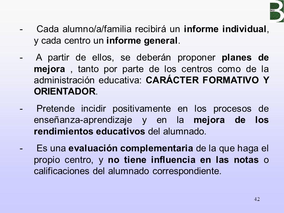 Cada alumno/a/familia recibirá un informe individual, y cada centro un informe general.
