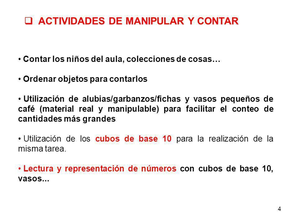 ACTIVIDADES DE MANIPULAR Y CONTAR