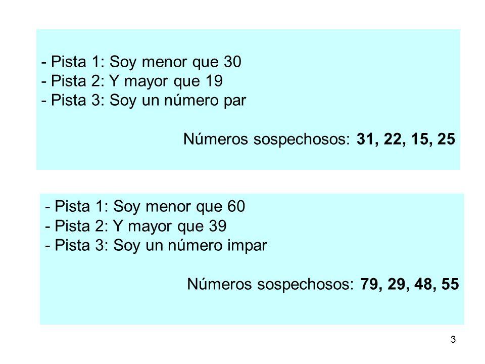 - Pista 1: Soy menor que 30 - Pista 2: Y mayor que 19. - Pista 3: Soy un número par. Números sospechosos: 31, 22, 15, 25.