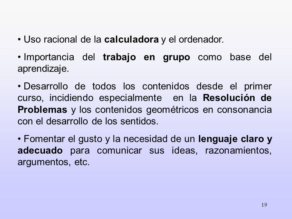 Uso racional de la calculadora y el ordenador.