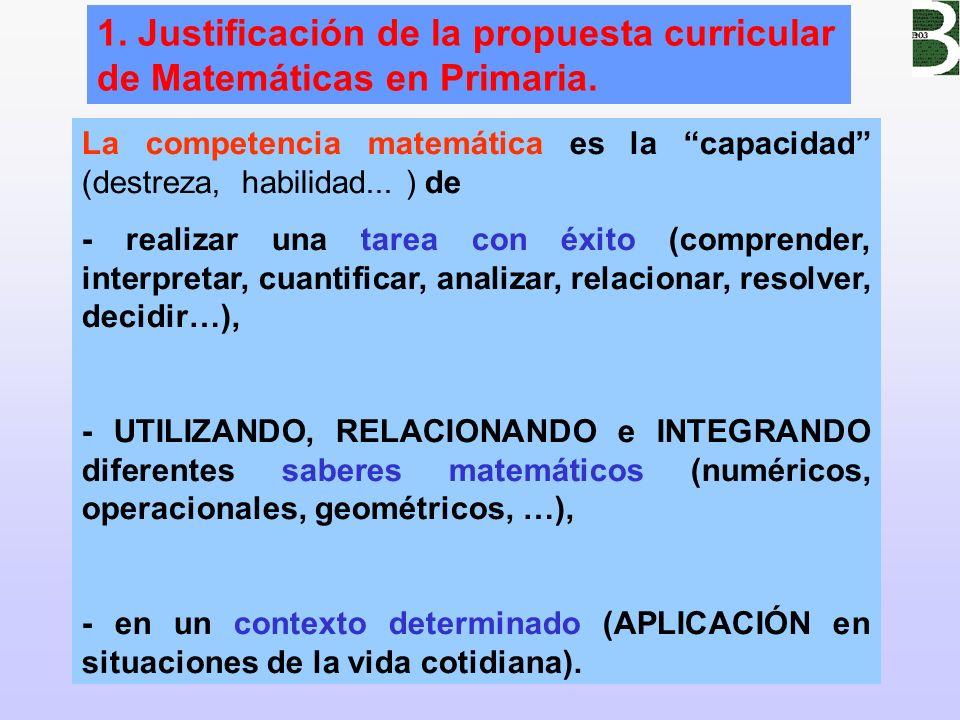 1. Justificación de la propuesta curricular de Matemáticas en Primaria.