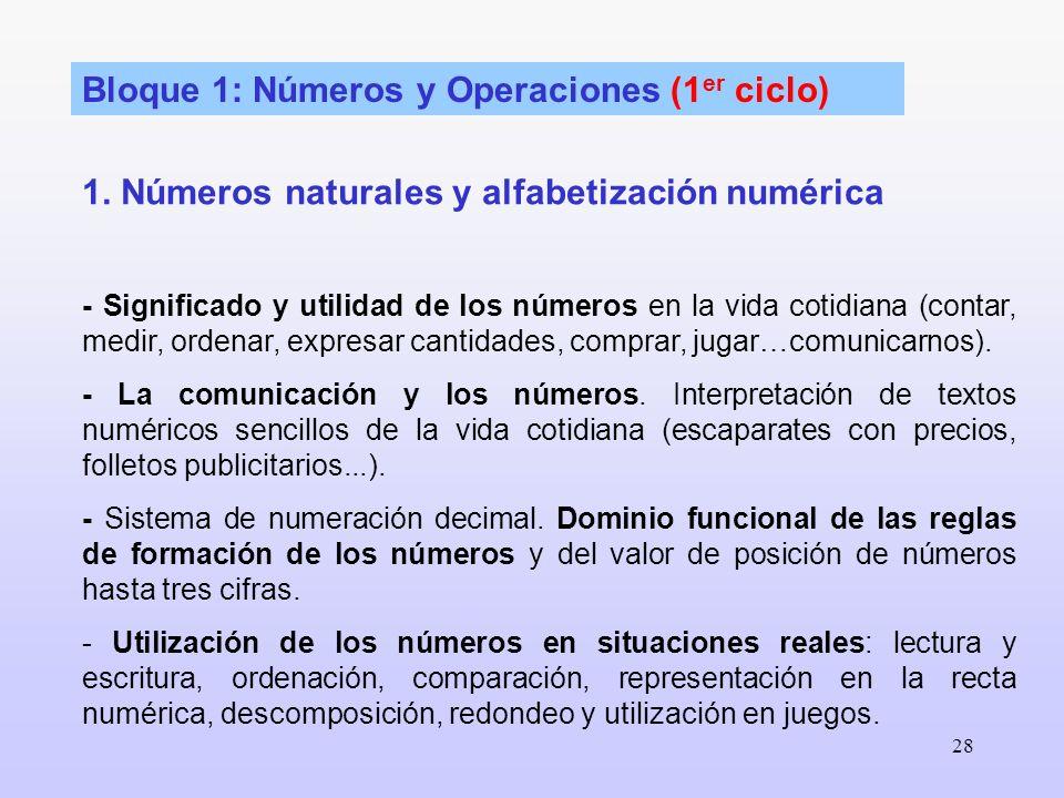 Bloque 1: Números y Operaciones (1er ciclo)
