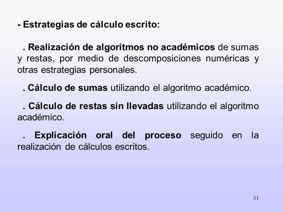 - Estrategias de cálculo escrito: