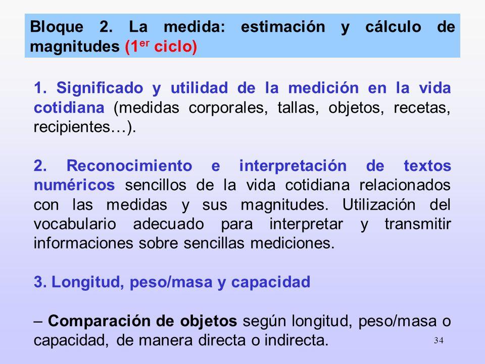 Bloque 2. La medida: estimación y cálculo de magnitudes (1er ciclo)