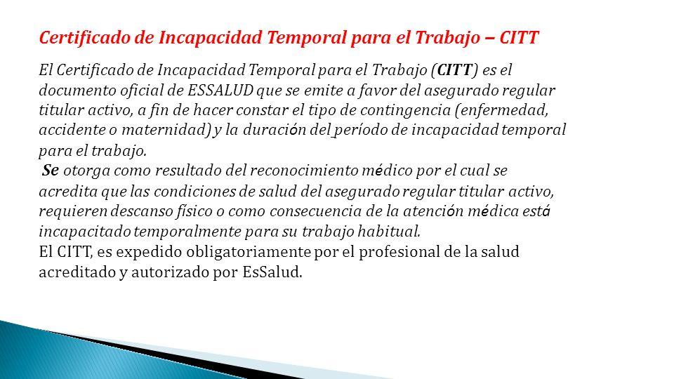 Certificado de Incapacidad Temporal para el Trabajo – CITT