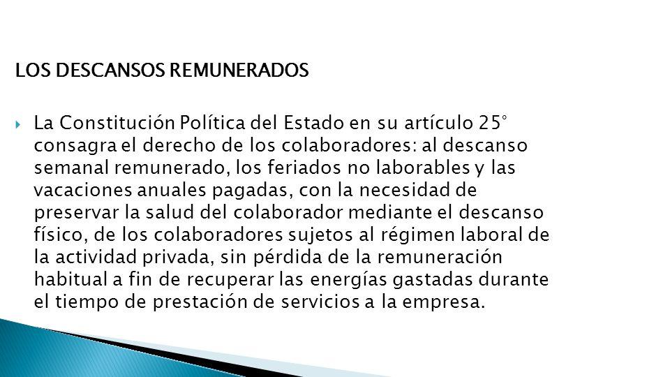LOS DESCANSOS REMUNERADOS