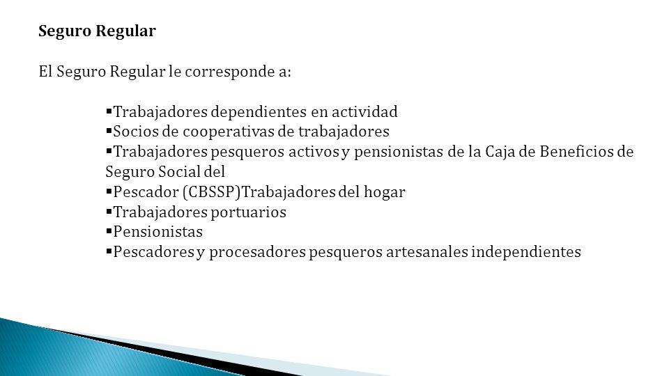 Seguro RegularEl Seguro Regular le corresponde a: Trabajadores dependientes en actividad. Socios de cooperativas de trabajadores.