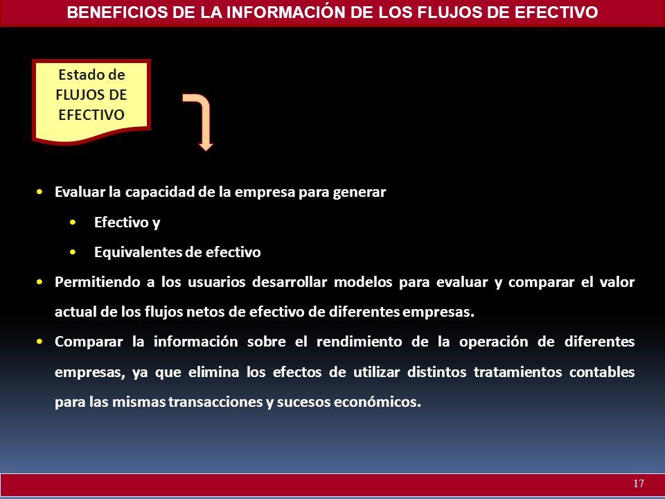 BENEFICIOS DE LA INFORMACIÓN DE LOS FLUJOS DE EFECTIVO