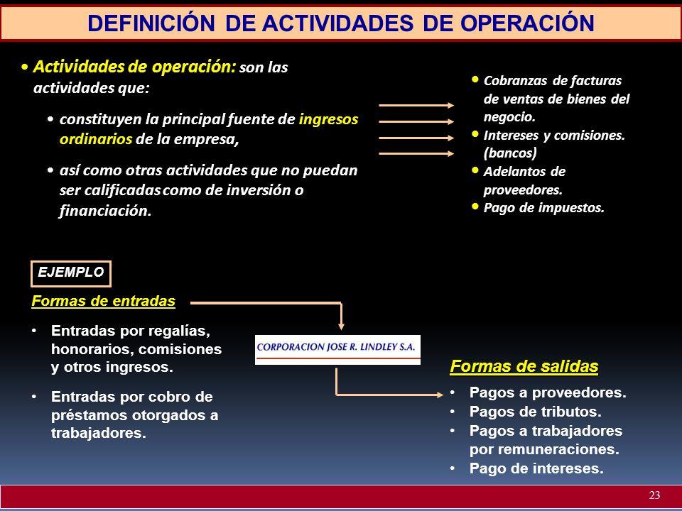 DEFINICIÓN DE ACTIVIDADES DE OPERACIÓN