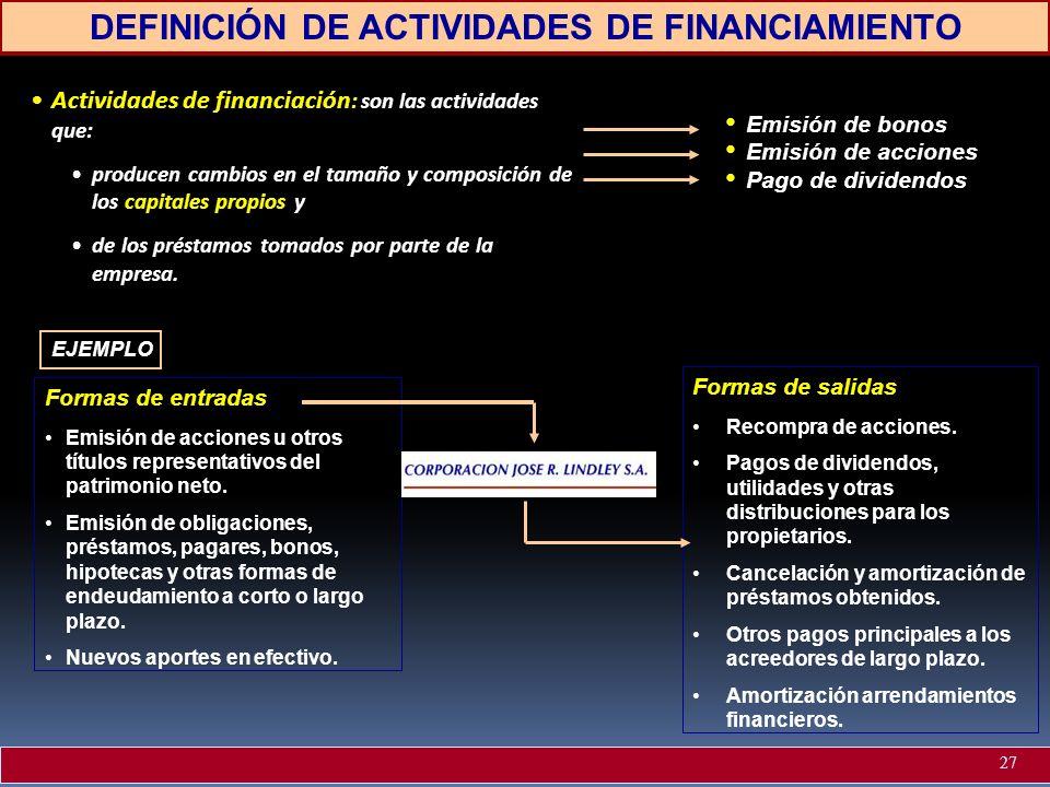 DEFINICIÓN DE ACTIVIDADES DE FINANCIAMIENTO