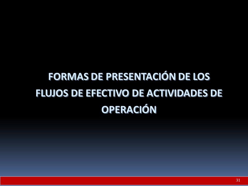 FORMAS DE PRESENTACIÓN DE LOS FLUJOS DE EFECTIVO DE ACTIVIDADES DE OPERACIÓN