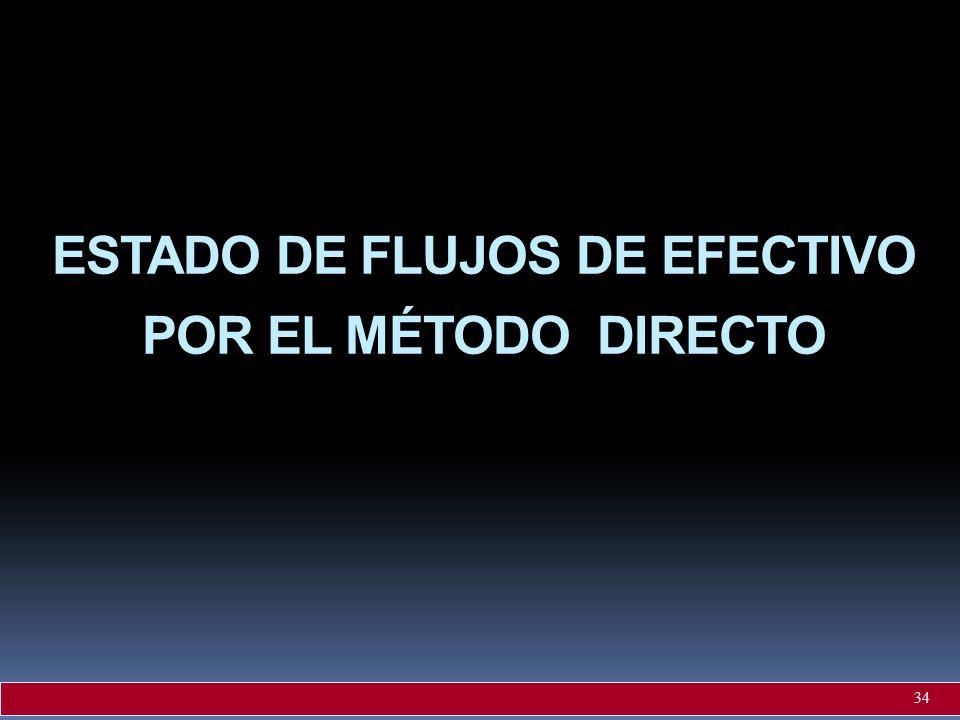 ESTADO DE FLUJOS DE EFECTIVO POR EL MÉTODO DIRECTO