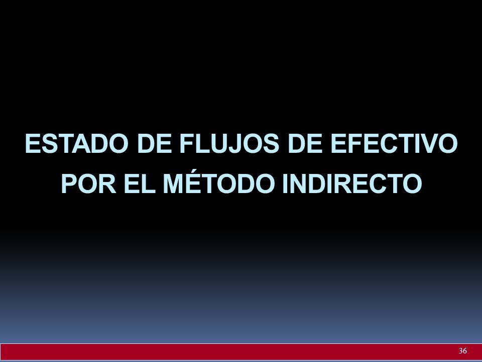 ESTADO DE FLUJOS DE EFECTIVO POR EL MÉTODO INDIRECTO