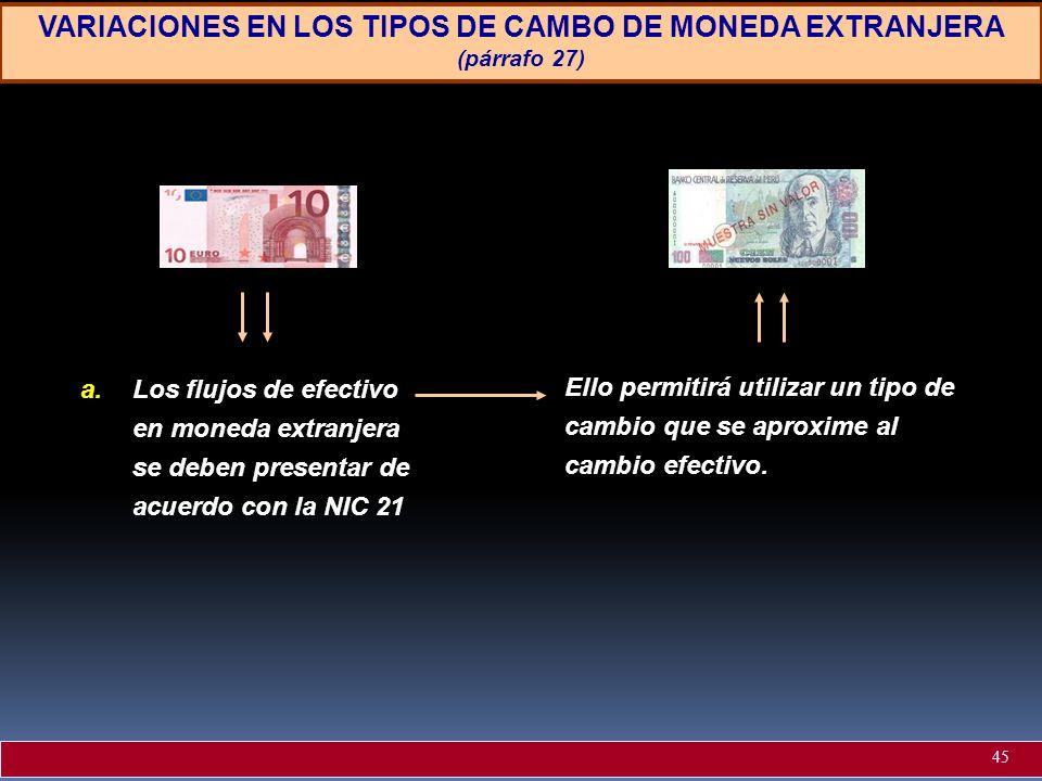 VARIACIONES EN LOS TIPOS DE CAMBO DE MONEDA EXTRANJERA (párrafo 27)