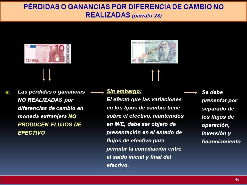 PÉRDIDAS O GANANCIAS POR DIFERENCIA DE CAMBIO NO REALIZADAS (párrafo 28)