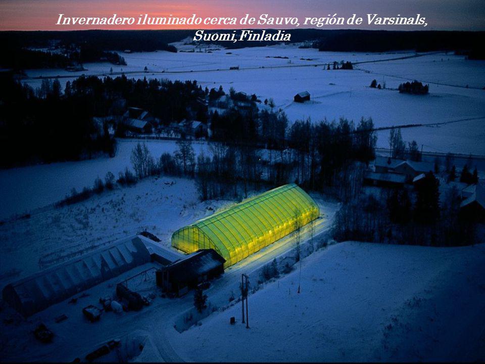 Invernadero iluminado cerca de Sauvo, región de Varsinals,