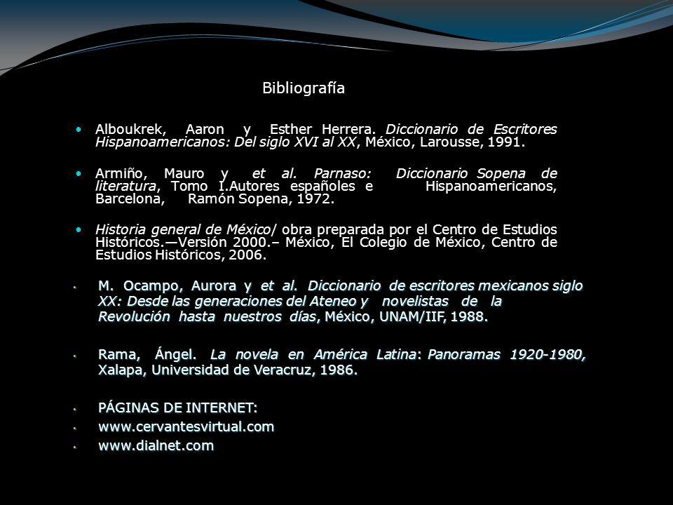 Bibliografía Alboukrek, Aaron y Esther Herrera. Diccionario de Escritores Hispanoamericanos: Del siglo XVI al XX, México, Larousse, 1991.
