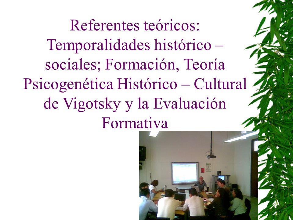 Referentes teóricos: Temporalidades histórico – sociales; Formación, Teoría Psicogenética Histórico – Cultural de Vigotsky y la Evaluación Formativa