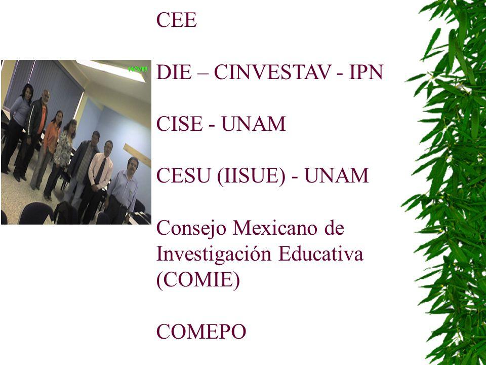 CEE DIE – CINVESTAV - IPN. CISE - UNAM. CESU (IISUE) - UNAM. Consejo Mexicano de Investigación Educativa (COMIE)