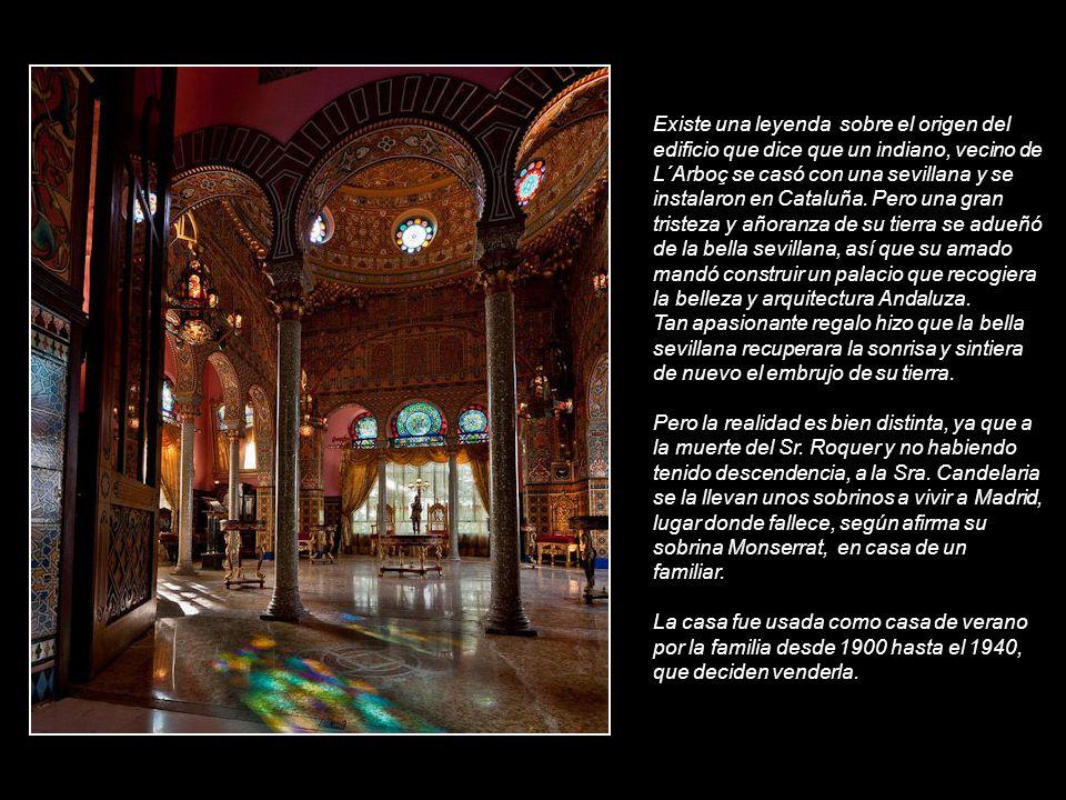 Existe una leyenda sobre el origen del edificio que dice que un indiano, vecino de L´Arboç se casó con una sevillana y se instalaron en Cataluña. Pero una gran tristeza y añoranza de su tierra se adueñó de la bella sevillana, así que su amado mandó construir un palacio que recogiera la belleza y arquitectura Andaluza.