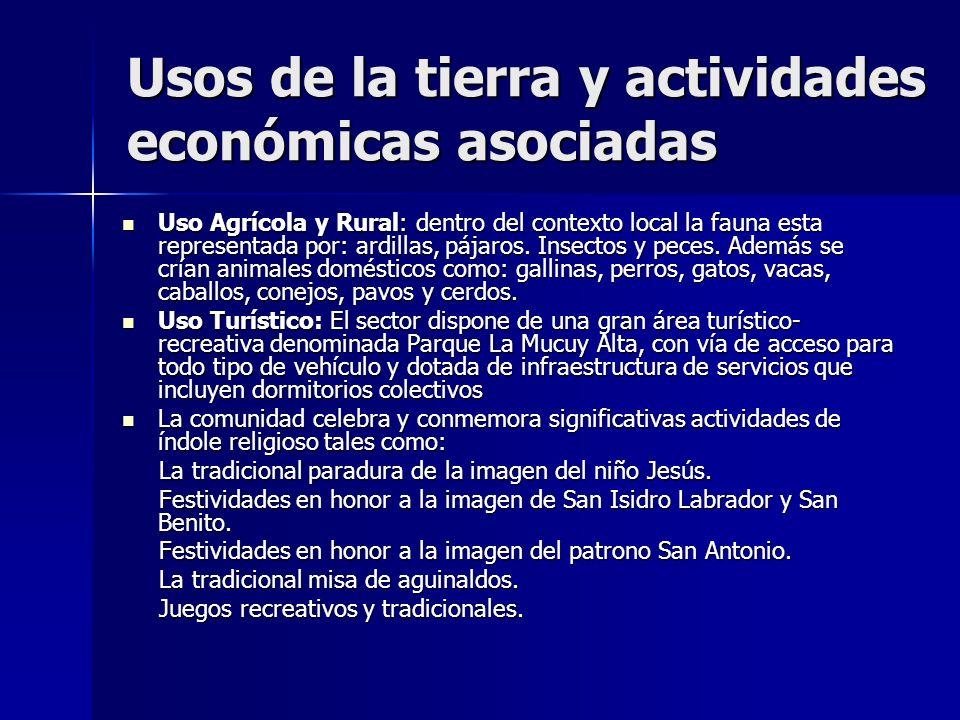 Usos de la tierra y actividades económicas asociadas