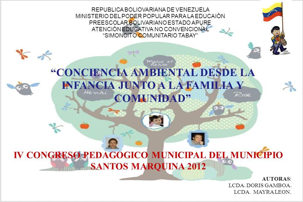 IV CONGRESO PEDAGOGICO MUNICIPAL DEL MUNICIPIO SANTOS MARQUINA 2012