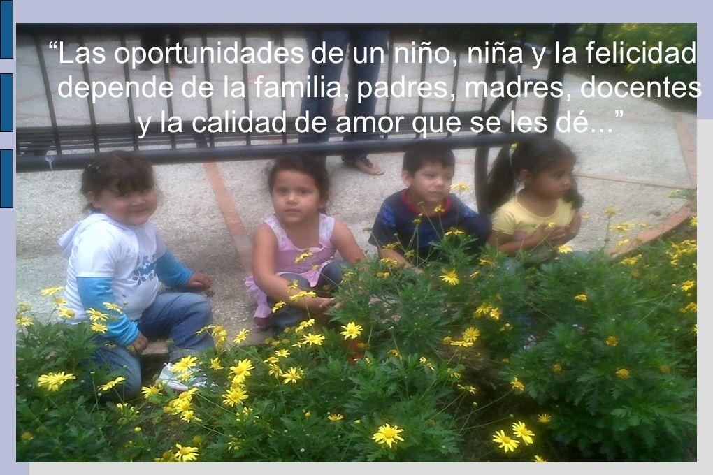 Las oportunidades de un niño, niña y la felicidad depende de la familia, padres, madres, docentes y la calidad de amor que se les dé...