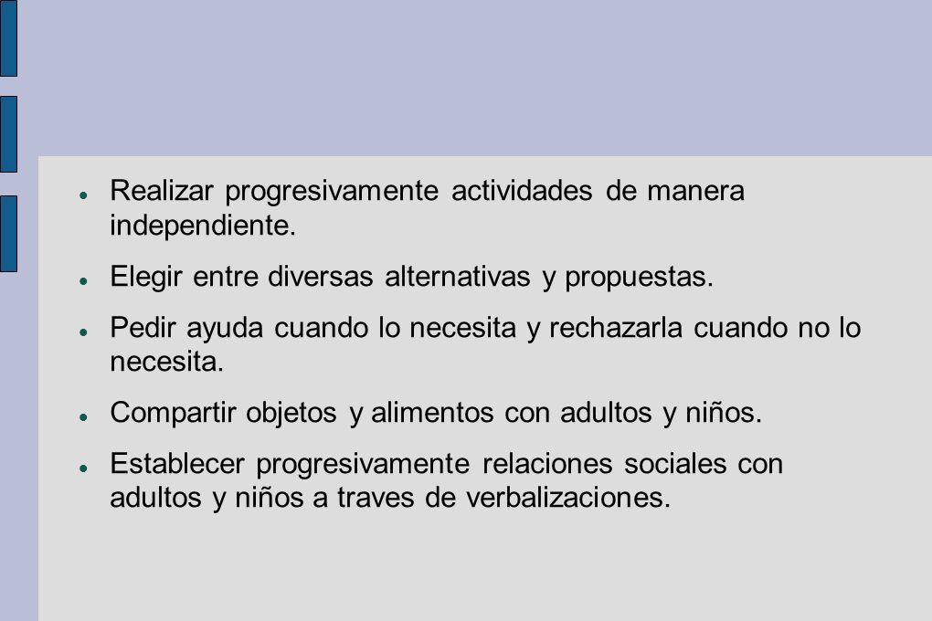 Realizar progresivamente actividades de manera independiente.