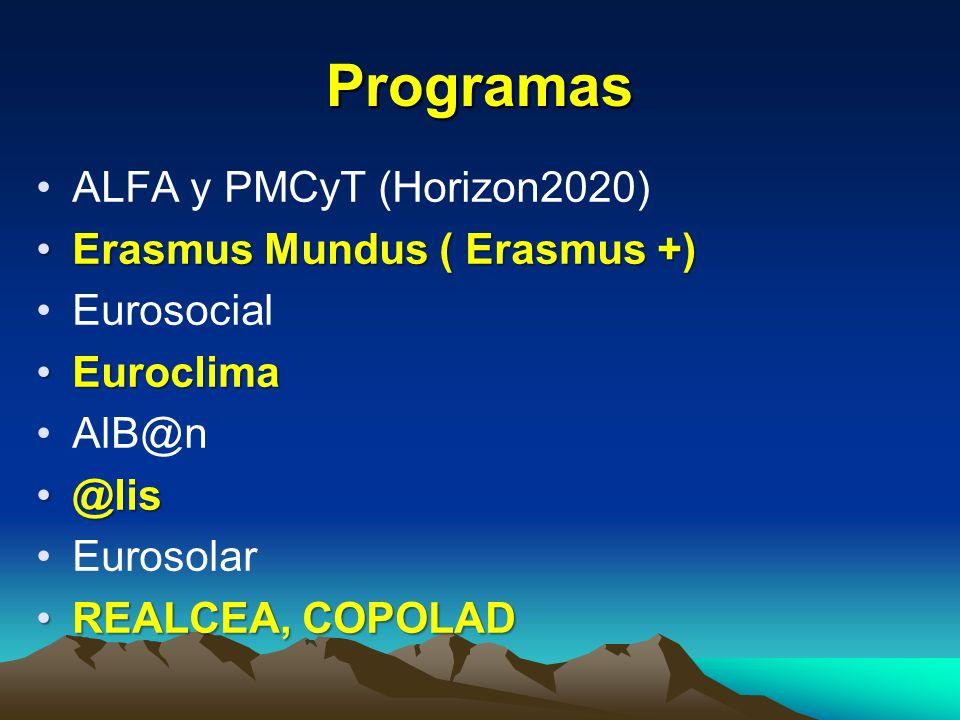 Programas ALFA y PMCyT (Horizon2020) Erasmus Mundus ( Erasmus +)
